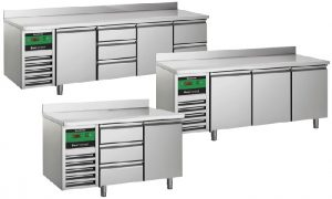 Kühl/Tiefkühltische mit und ohne hintere Aufkantung